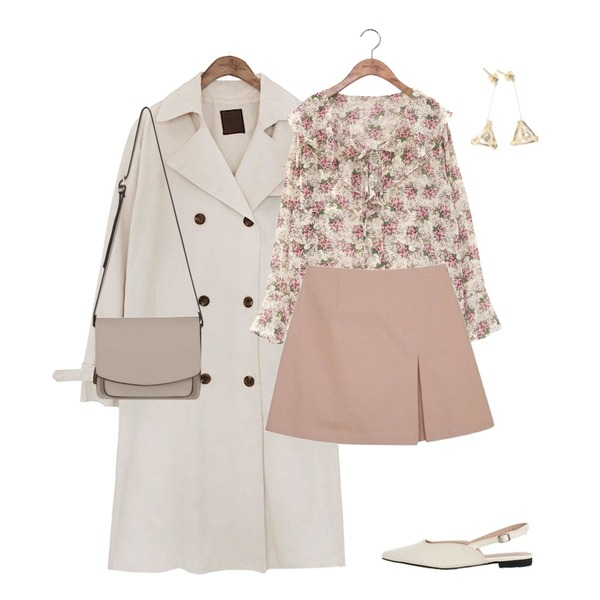 common unique [OUTER] CLASSIC CHIC TRENCH COAT,common unique [TOP] WAXFLOWER RUFFLE BLOUSE,myblin 플리츠 포인트 스커트등을 매치한 코디