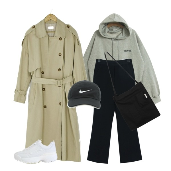TODAY ME [tee]볼트 후드티(박시 캐쥬얼 영문 자수 후드T),From Beginning Fit banding boots-cut slacks_M (size : S,M),BANHARU natural double button trench coat등을 매치한 코디