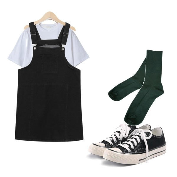 ROCOSIX simple coton sneakers,From Beginning Train cotton overall ops_M (size : M,L),OBBANG STYLE 포인트 레터링 라운드티셔츠등을 매치한 코디