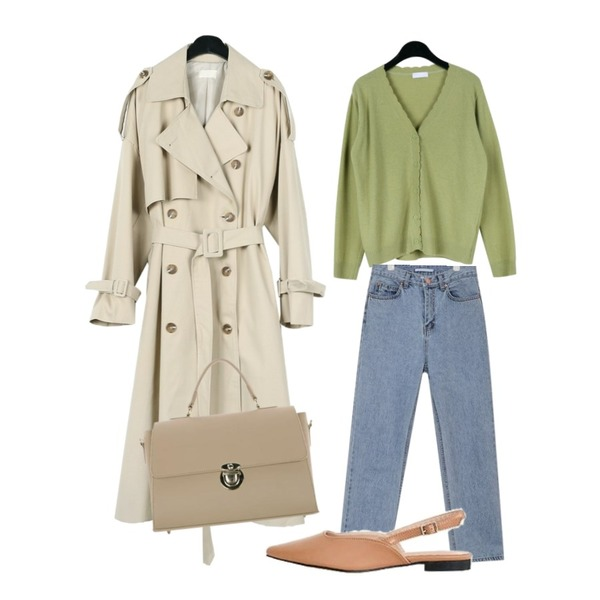daily monday Wave v-neck cardigan,daily monday Over casual trench coat,AIN wearable straight pants (s, m)등을 매치한 코디