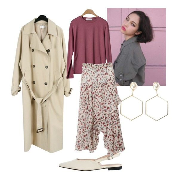 -,daily monday Button cross long trench coat,LOVELY SHOES 브런스 슬링백 플랫슈즈 2cm등을 매치한 코디