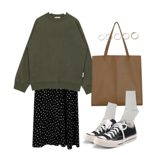 AIN FRESH A standard mtm (9 colors),daily monday Wrinkle dot skirt,From Beginning Wide square shopper bag_K (size : one)등을 매치한 코디