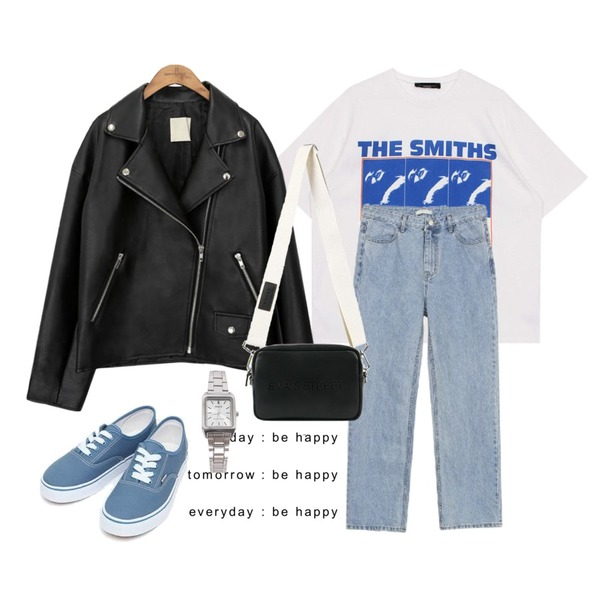 be happy,biznshoe Smiths tee (2color),AIN daily casual sneakers (230-250)등을 매치한 코디