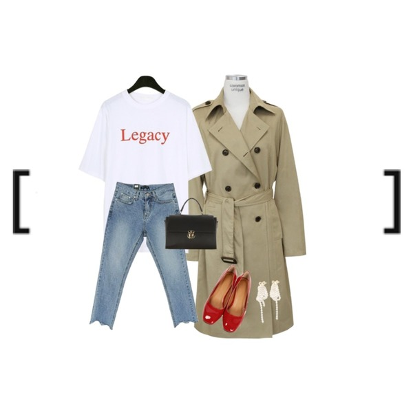 daily monday Legacy half sleeve tee,common unique [OUTER] SATIN BELT TRENCH COAT,MOMORIT 밑단 컷팅 데님팬츠등을 매치한 코디