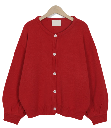 Berry balloon cardigan_M (size : free)