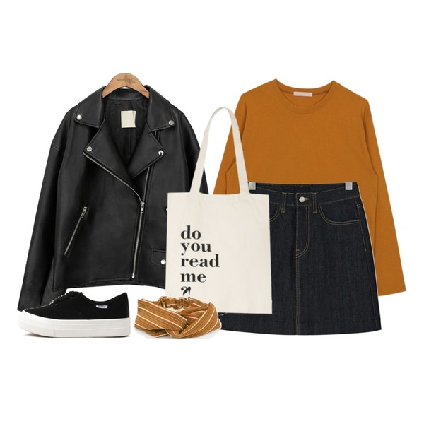 common unique [OUTER] BLACK PLAT RIDER JACKET,biznshoe Basic cotton tee (6color),BANHARU deep blue a-line denim skirt등을 매치한 코디