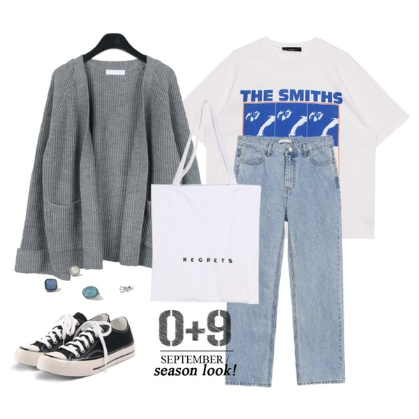 daily monday Roll-up shawl cardigan,biznshoe Smiths tee (2color),biznshoe Straight loose fit denim등을 매치한 코디
