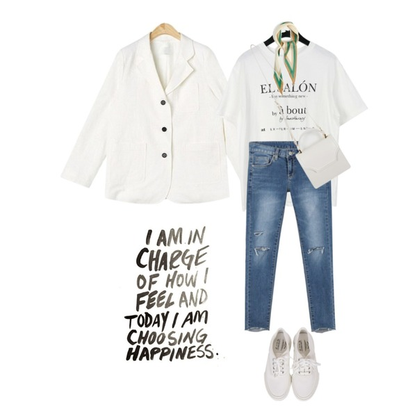 daily monday Cutting tension denim skinny,daily monday French lettering cotton tee,AIN from moment linen jacket등을 매치한 코디
