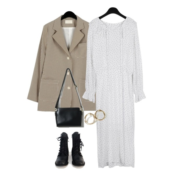 AFTERMONDAY walker ankle boots,daily monday Adorable dot one-piece,daily monday Cool texture check jacket등을 매치한 코디