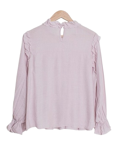 Claire Neck Frilly Shirting Blouse