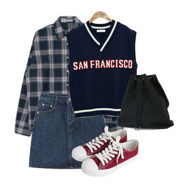 common unique [OUTER] SAN FRANCISCO LETTERING KNIT VEST,MIXXMIX 모션 체크 셔츠,AIN matter vintage denim skirt (s, m)등을 매치한 코디