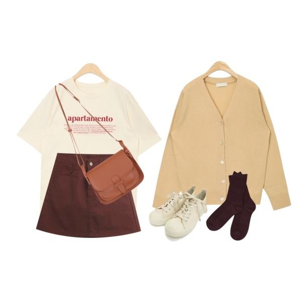 TODAY ME [skirt]보닌 스커트(A라인 면sk),AIN double lettering T,AIN soft basic wool cardigan등을 매치한 코디