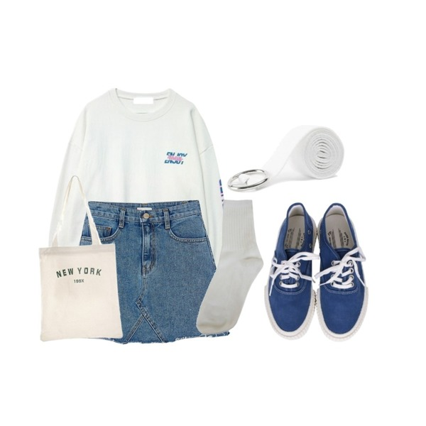 BANHARU free cutting denim skirt,GIRLS RULE [남여공용] 네온 오버 맨투맨 (t4369),biznshoe Couple sneakers (4color)등을 매치한 코디