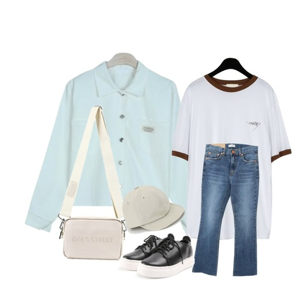 GIRLS RULE 포인트 포켓 자켓 (jk709),daily monday Sporty color point tee,Zemma World 2018 Cheese jean premium (ver.슬림부츠컷)[size:S,M,L,XL / 1color]등을 매치한 코디