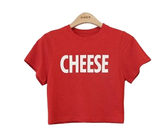 Cheese slim crop t-shirt