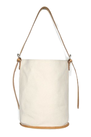 real leather strap bucket bag