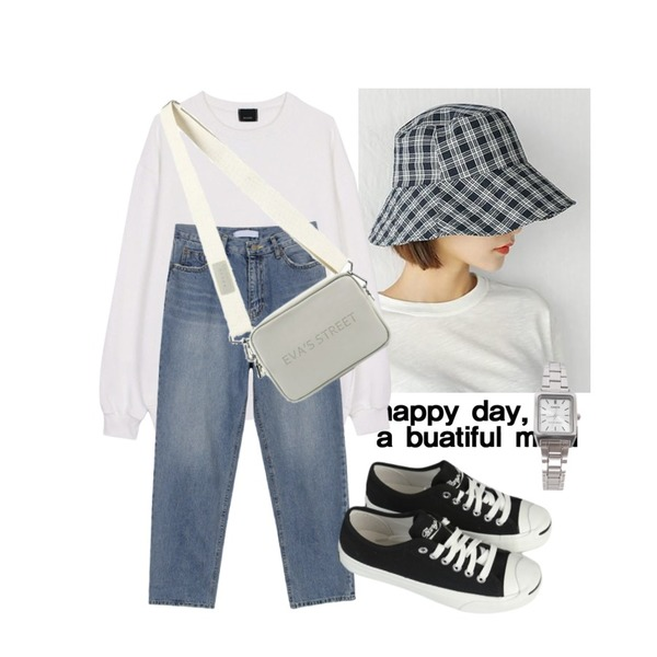 Untitled,BANHARU london check bucket hat,biznshoe Oversize napping mtm (5color)등을 매치한 코디