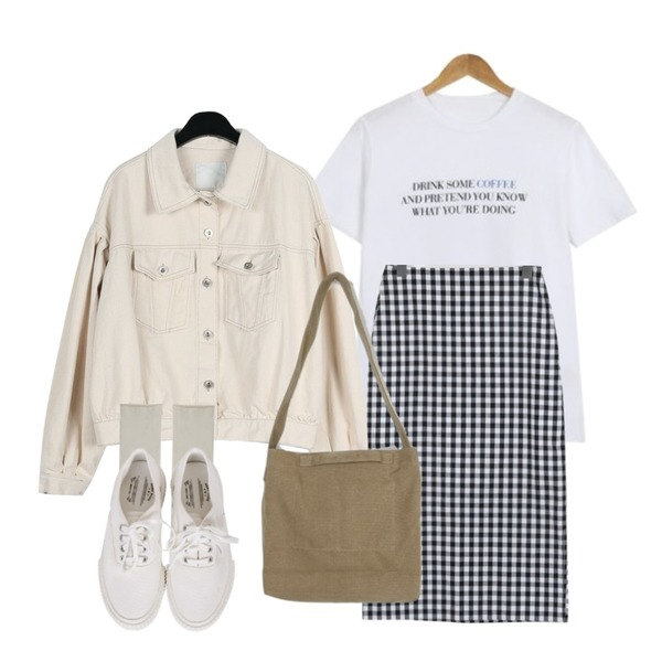 daily monday Over sholder short jacket,From Beginning Sky gingham check skirt_S (size : S,M),AWAB 달달커피라운드티등을 매치한 코디