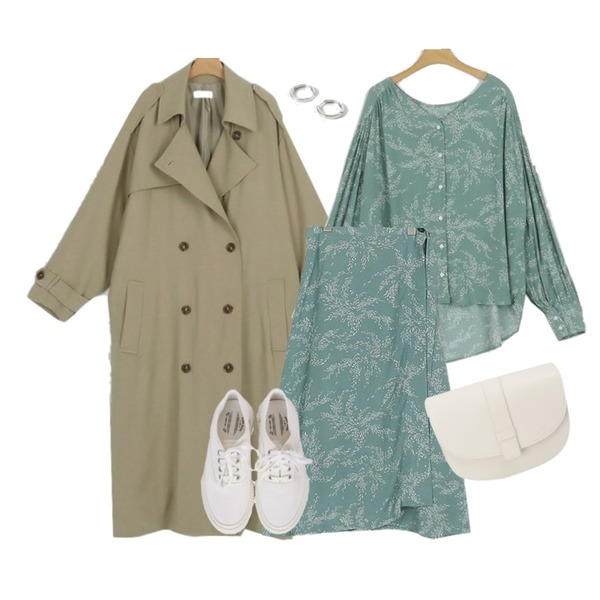 somedayif wish leaf blouse (3colors),somedayif poly double maxi trench coat (2colors),somedayif wish leaf lap skirt (2colors)등을 매치한 코디