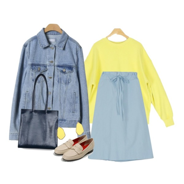 OBBANG STYLE 라끄베르 청자켓,somedayif basic spring MTM (7colors),somedayif wide string skirt (3colors)등을 매치한 코디