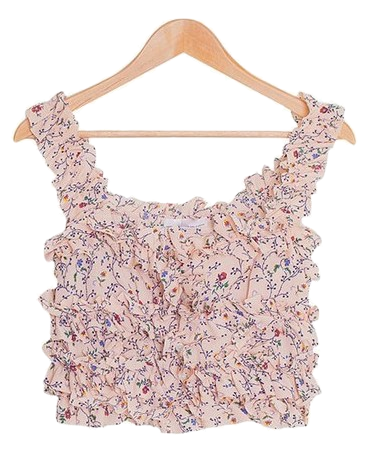 Beauty flower frilly bustier blouse