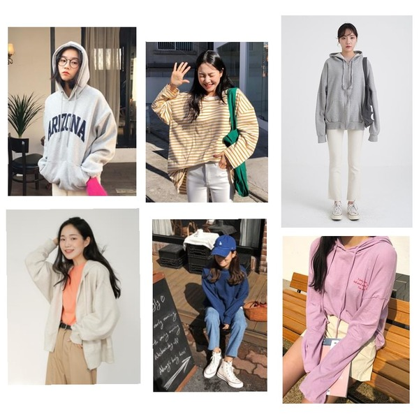 From Beginning Arizona nap hood mtm_K (size : free),From Beginning Egg boxy stripe T_M (size : free),From Beginning Pale tone hood zip-up_S (size : free)등을 매치한 코디
