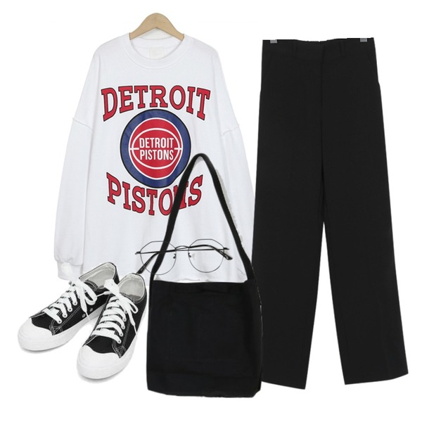 From Beginning Detroit over mtm_S (size : free),From Beginning Spring wide slacks_M (size : S,M),AIN basic monday sneakers (230-250)등을 매치한 코디