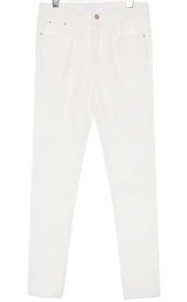 WHITE SLIM STRAIGHT CROP PANTS