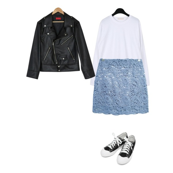 GIRLS RULE 꽃 레이스 미니스커트 (sk1001),daily monday Soft cotton round tee,BANHARU soft loose fit rider jacket등을 매치한 코디