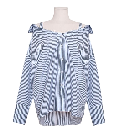 Striped collar off shoulder shirt blouse [guest / cord off shoulder / cuffs]