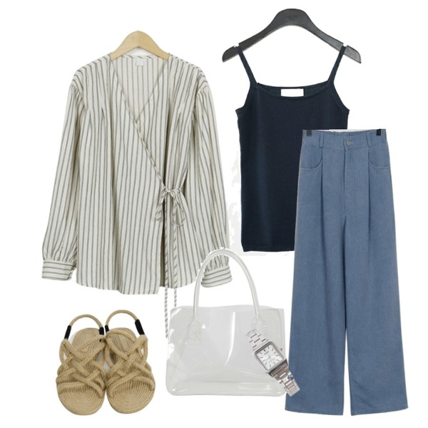 AFTERMONDAY basic knit sleeveless (6colors),From Beginning Vertical string wrap blouse_S (size : free),From Beginning Semi baggy cotton pants_S (size : free)등을 매치한 코디