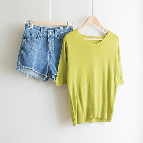 Soulbasic V neck trimmings [Yellow / Customers / Daily]