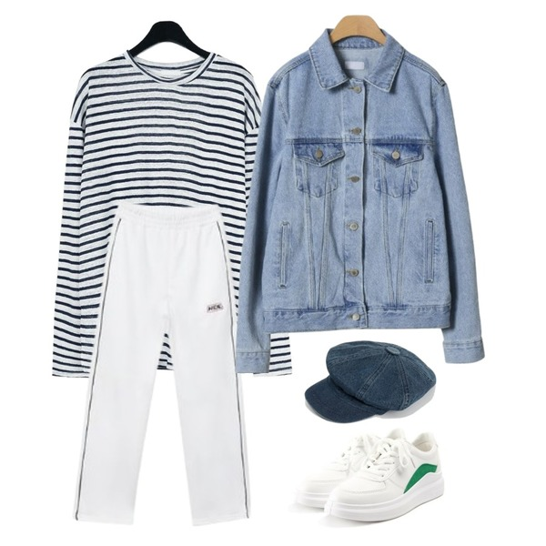 OBBANG STYLE 라끄베르 청자켓,MIXXMIX Piping Track Pants,daily monday Natural fit linen stripe tee등을 매치한 코디