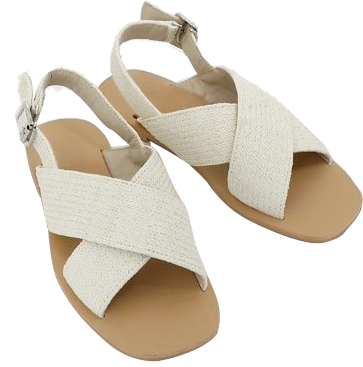 Natural cross strap sandals