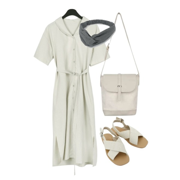 AIN hand close bag,daily monday Charming belt one-piece,daily monday Natural cross strap sandals등을 매치한 코디