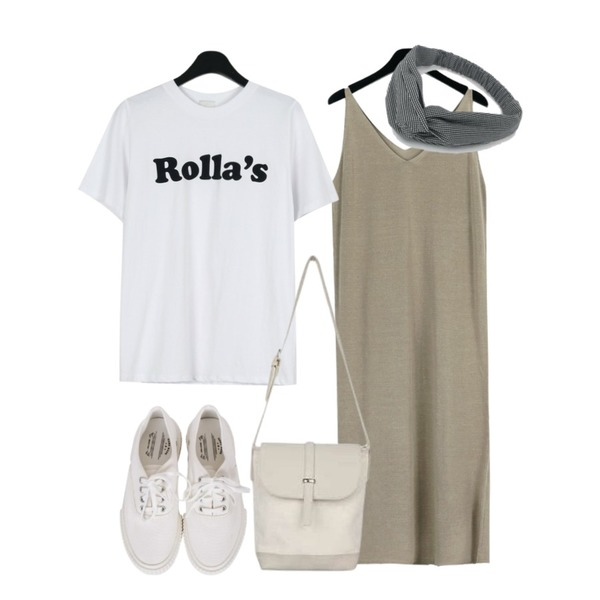 biznshoe Couple sneakers (4color),daily monday Rolla lettering tee,daily monday Knit sleeveless one-piece등을 매치한 코디