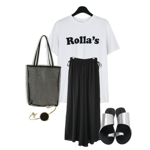 daily monday Rolla lettering tee,AFTERMONDAY side ribbon wide banding pants (2colors),From Beginning Joy flip-flop cover slipper_B (size : 230,235,240,245,250)등을 매치한 코디