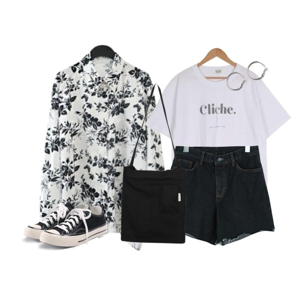 ROCOSIX simple coton sneakers,BULLANG GIRL 클리세메이드T,AFTERMONDAY oriental floral boxy shirt등을 매치한 코디