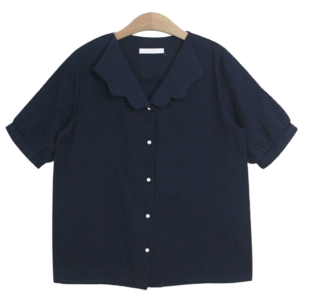 [blouses] Coed blouse (wave pearl short sleeve shirt collar st)