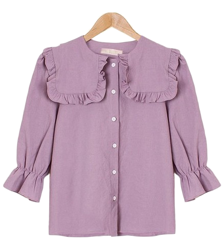 Olivia Frilly Shirring Sailor Kara Blouse [Guests / Date / Lovely / Puff Sleeve]