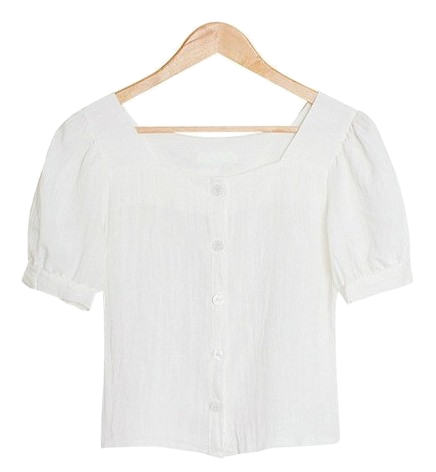 Signal Puff Sleeve Square Neck Blouse [Guests / Date / Picnic]