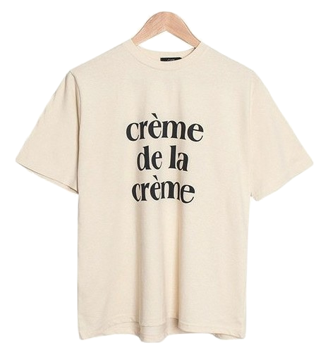 Creme Lettering Round T-Shirt [Casual / Daily / Printing]