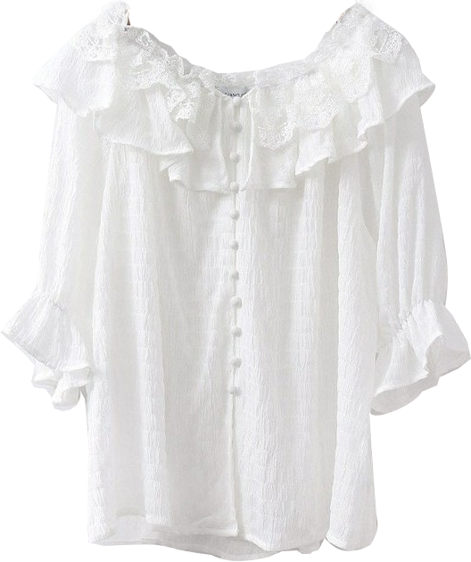 Lodge off-shoulder lace short-sleeved blouse