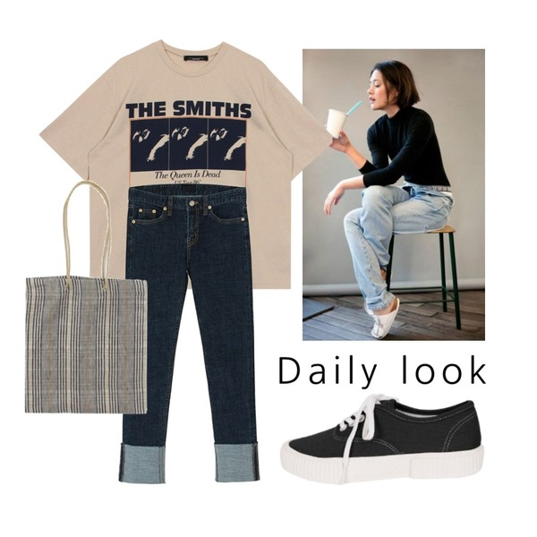 -,biznshoe Smiths tee (2color),BANHARU roll-up slim straight pants등을 매치한 코디