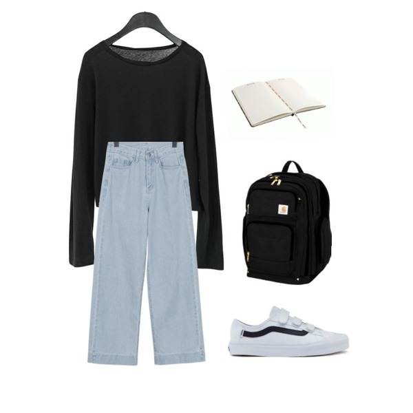 AFTERMONDAY soft texture cropped top (4colors),From Beginning Cold wide denim pants_S (size : S,M,L),ㅇ등을 매치한 코디