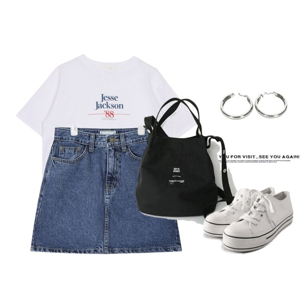 Untitled,biznshoe Jesse jackson tee (3color),AIN day A-line denim skirt (s, m, l)등을 매치한 코디