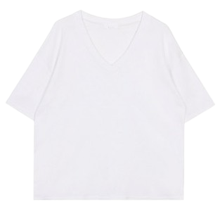 Deep v-neck tee (2color)