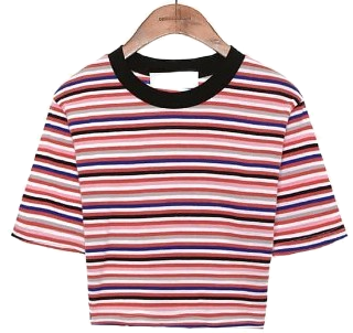 LOLLIPOP STRIPE CROP 1/2 T