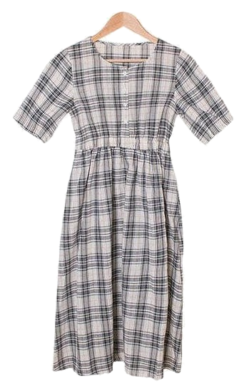 Mocha Button Check Long Dress