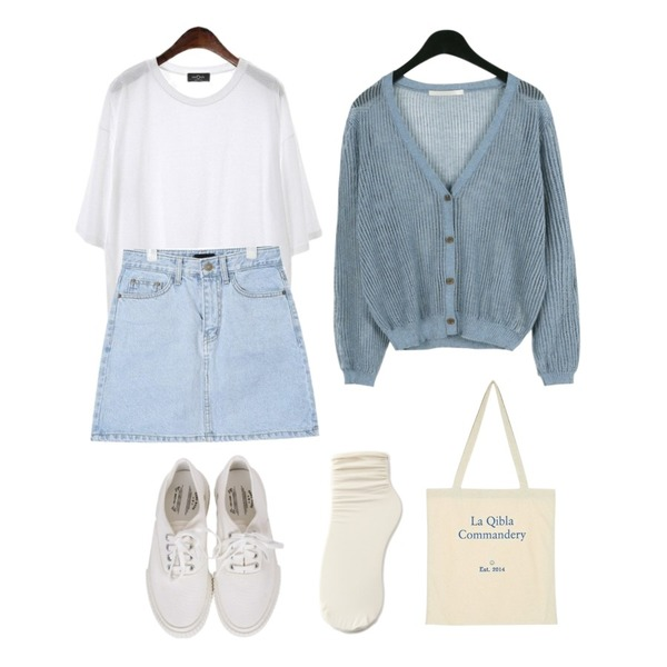 daily monday Linen neating cardigan,AIN day A-line denim skirt (s, m, l),ROCOSIX overfit summer round tee등을 매치한 코디